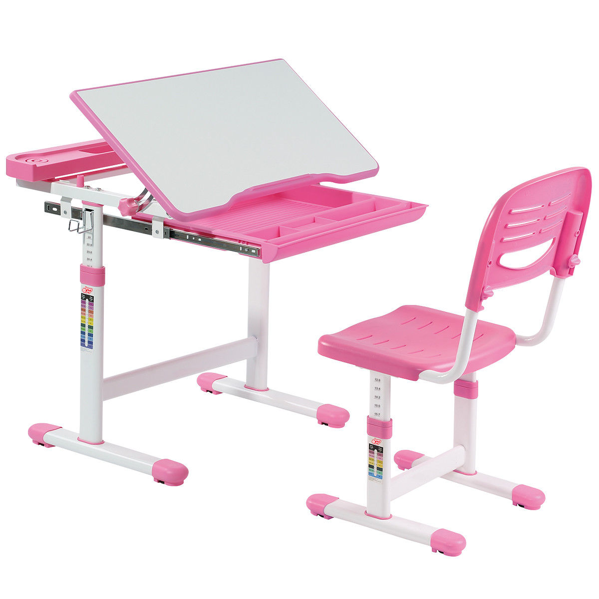Gymax Height Adjustable Childrenu0027s Desk Chair Set Multifunctional Study  Drawing Pink   Walmart.com