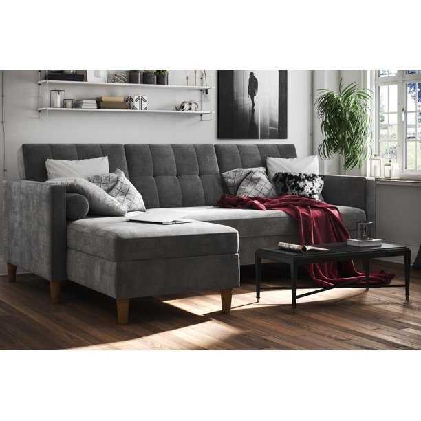 DHP Hartford Storage Sectional Futon, Multiple Colors - gray