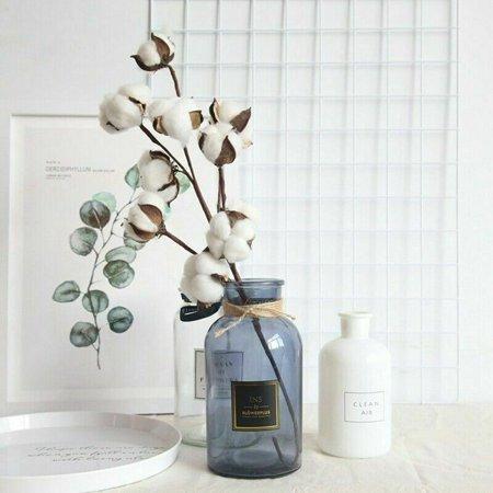 KABOER 53cmDried Cotton Stems Artificial Farmhouse Fillers Flowers Decorative Unique