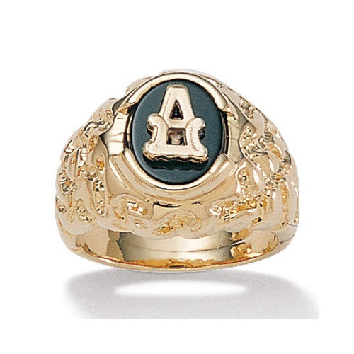 Palm Beach Jewelry Gold Plated Men's Onyx Initial Ring