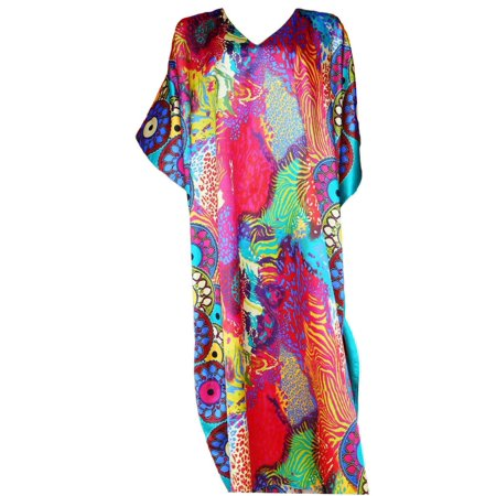 Up2date Fashion's Women's Caftan / Kaftan, Turquoise Safari Print