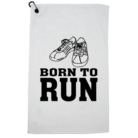 Born to Run - Old School Classic Running Shoes Golf Towel with Carabiner