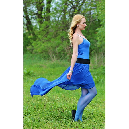 LAMINATED POSTER Fairy Blue Skirt Beauty Field Wind Blonde Woman Poster Print 24 x 36