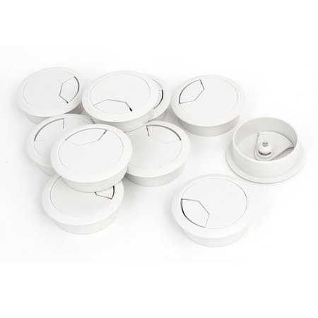 Uxcell 50mm Dia. Plastic Computer Desk Round Grommet Wire Cable Hole Covers White (10-pack) ()