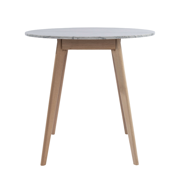"Avella 31"" Round Italian Carrara White Marble Dining Table with Oak Legs"