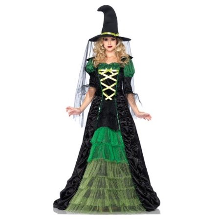 Leg Avenue Women's 2 Piece Storybook Witch Costume, Black/Green, Small/Medium - Dark And Stormy Halloween Costume