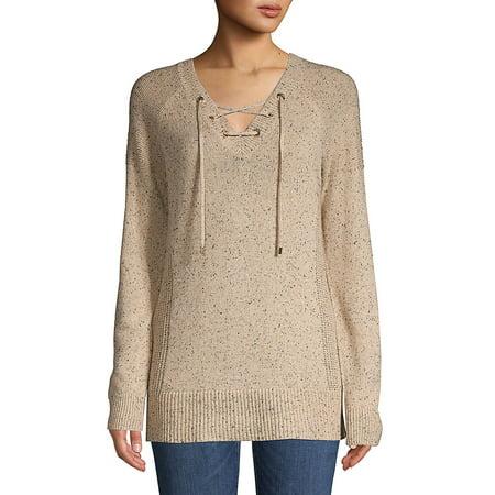 8aebc517da Flecked Lace-Up Sweater - Walmart.com