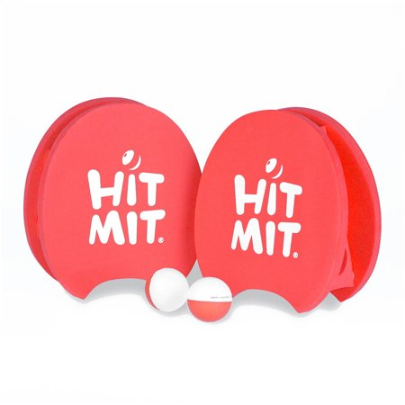 Hit Mit All-Weather Waterproof Paddle Ball Glove Set, Red, 2ct Hit Mit paddles, 2ct Hit Mit balls, 1ct Mesh Bag](Paddle Game)