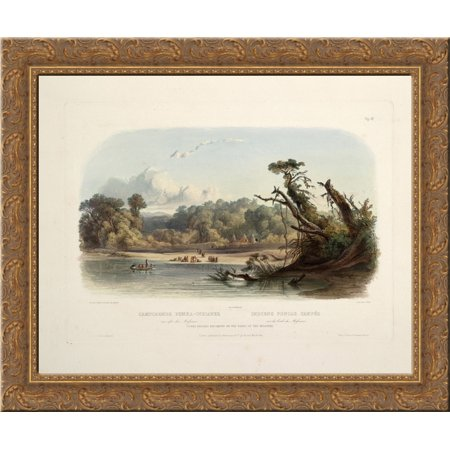Punka Indians Encamped on the Banks of the Missouri, plate 11 from volume 1 of `Travels in the Interior of North America' 24x20 Gold Ornate Wood Framed Canvas Art by Karl