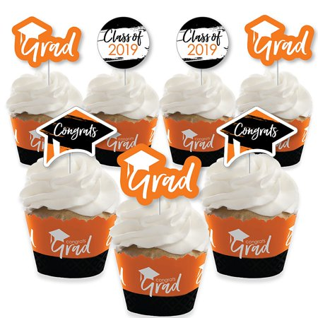 Orange Grad - Best is Yet to Come - Cupcake Decoration - 2019 Orange Graduation Party Cupcake Wrappers and Treat Picks Kit - Set of (Best Time To Pick Oranges)