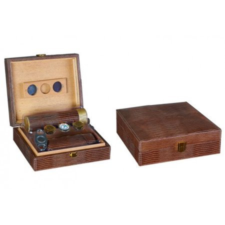 Leather Humidor - Alligator Leather Cigar Humidor Gift Set - Brown - Capacity: 25