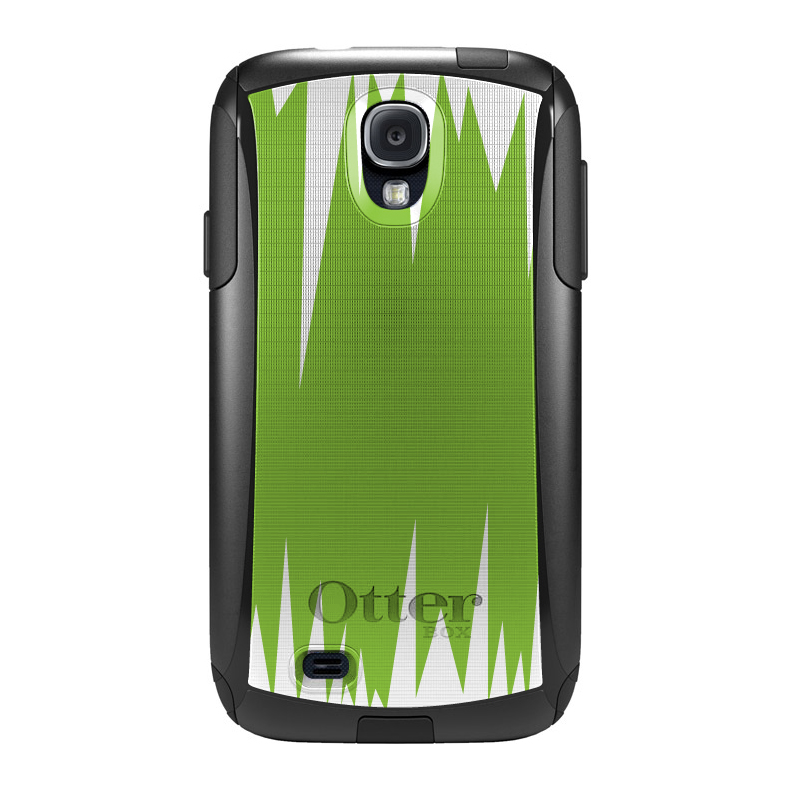 DistinctInk™ Custom Black OtterBox Commuter Series Case for Samsung Galaxy S4 - Lime Green White Spikes