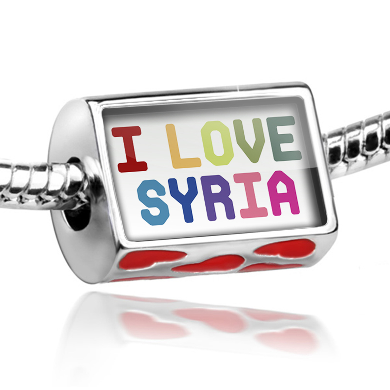 Bead I Love Syria ,Colorful Charm Fits All European Bracelets