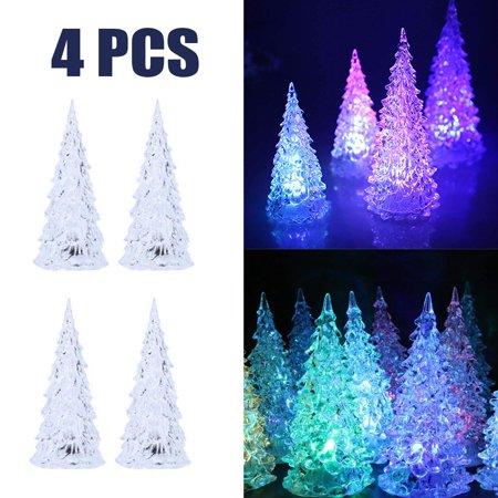 Fordawn 4pcs LED Light Up Christmas Tree Mini Xmas Night Light Christmas Ornaments Decoration - image 1 of 8