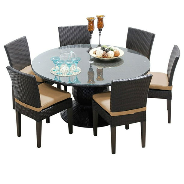 60 Round Glass Top Patio Dining Set, 60 Round Glass Dining Room Table