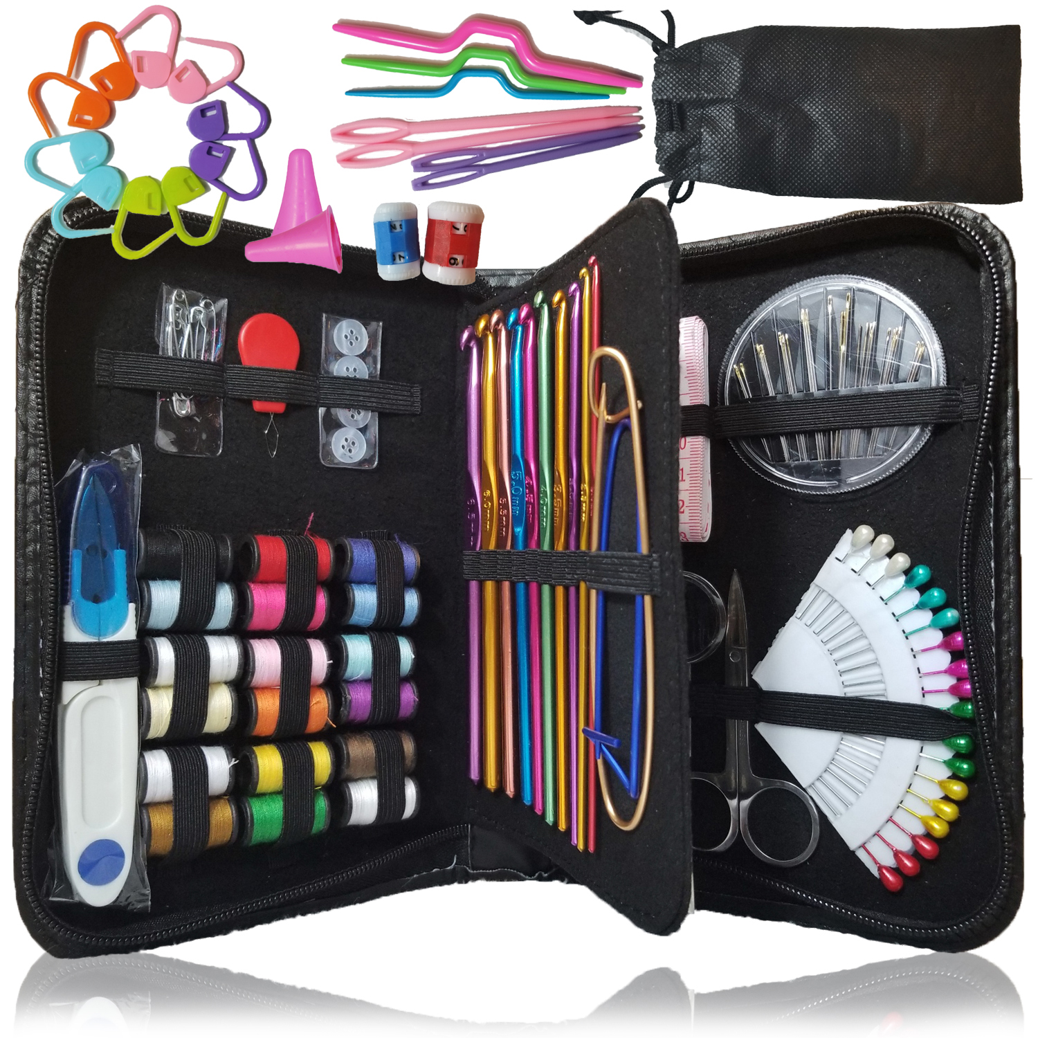 Sewing kit & Crochet kit, DIY Over 100 Premium Sewing and crocheting Supplies, FREE BONUS Knitting accessories - Travel sewing kit, for beginners, emergency, kids, dorm, camping and Home