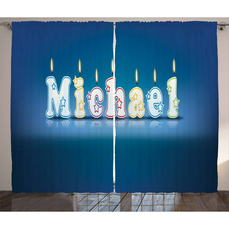 Michael Curtains 2 Panels Set, Kids Boys Name Letter Design for Delicious Birthday Party Cake Decoration, Window Drapes for Living Room Bedroom, 108W X 84L Inches, Blue and Multicolor, by Ambesonne (Designs For Letters)