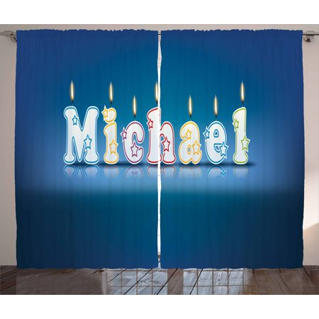 Michael Curtains 2 Panels Set, Kids Boys Name Letter Design for Delicious Birthday Party Cake Decoration, Window Drapes for Living Room Bedroom, 108W X 96L Inches, Blue and Multicolor, by Ambesonne (Designs For Letters)