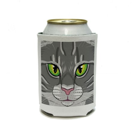 Grey Gray Tabby Cat Face - Pet Kitty Can Cooler Drink Insulator Beverage Insulated Holder