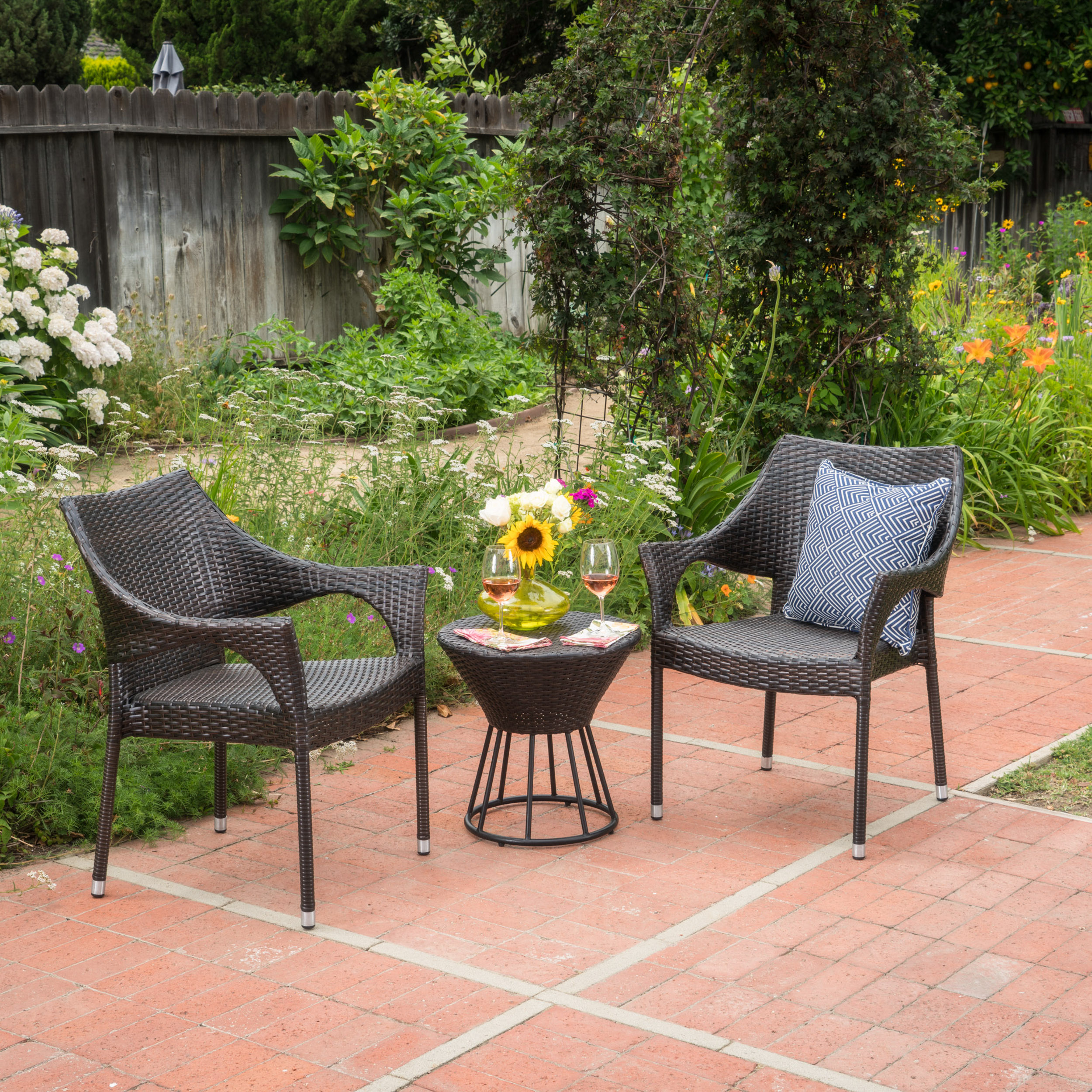 Victoria Outdoor 3 Piece Wicker Stacking Chair Chat Set, Multibrown