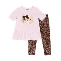 Little Lass Kitty Peplum Top and Leopard Print Leggings, 2pc Outfit Set (Baby Girls & Toddler Girls)