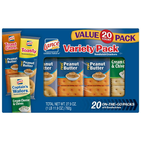 Lance Variety Pack Sandwich Crackers with ToastChee and Toasty with Peanut Butter and Captain's Wafers with Cream Cheese, 20 Ct - Top 20 Halloween Snacks