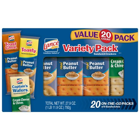 Anl Wafer - Lance Variety Pack Sandwich Crackers with ToastChee and Toasty with Peanut Butter and Captain's Wafers with Cream Cheese, 20 Ct
