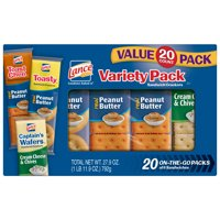 Lance Variety Pack Sandwich Crackers with ToastChee and Toasty with Peanut Butter and Captain's Wafers with Cream Cheese, 20 Ct