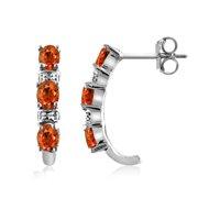 Mandarin Garnet and Diamond Accent Earrings Sterling Silver