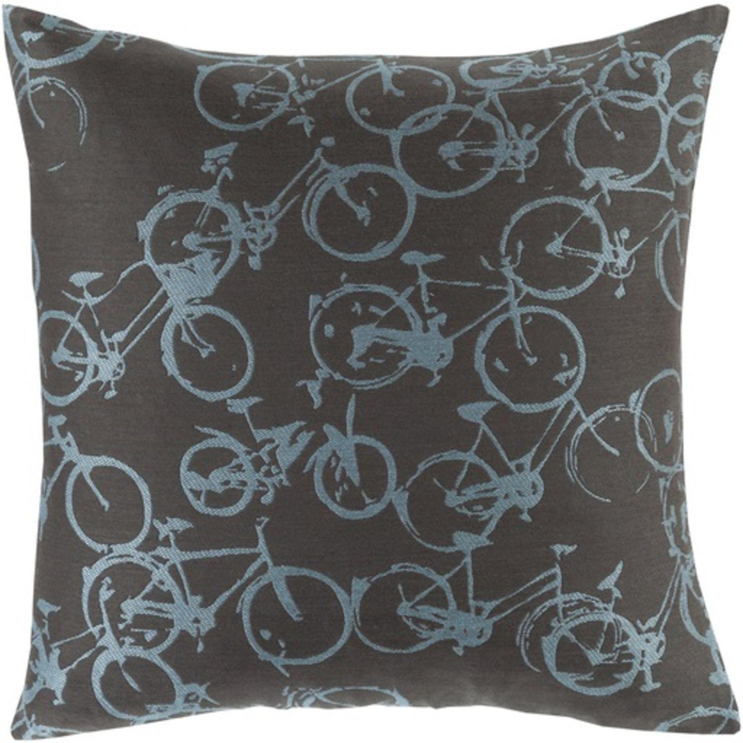 "18"" Crazed Cycling Ebony Black and Powder Blue Decorative Throw Pillow"