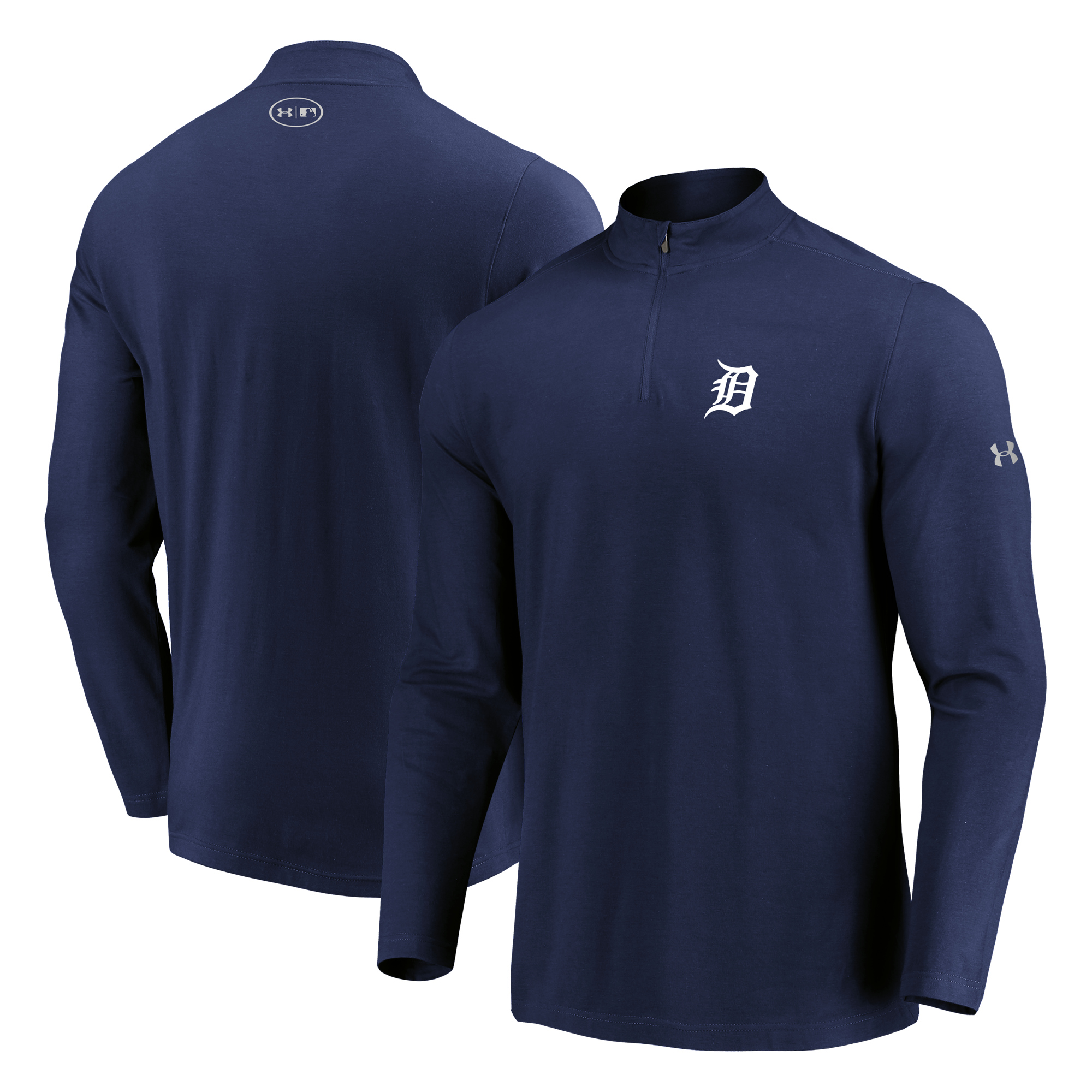 Detroit Tigers Under Armour Passion Performance Tri-Blend Quarter-Zip Pullover Jacket - Navy