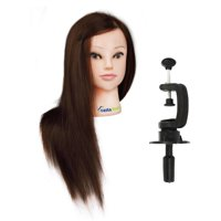 22inch 98% Human Hair Mannequin Doll Manikin Head + Free Clamp Holder Salon Cosmetology Beauty Head Training Hairdressing Makeup Hairdresser Hair styling Practice CoastaCloud