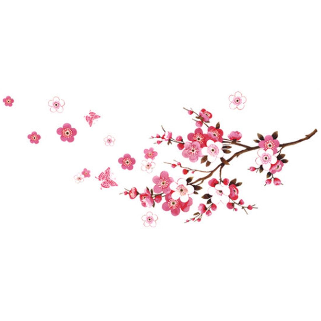 Bedroom Decor Plum Flower Pattern Self Adhesive Wall Decor Sticker Wallpaper Decal