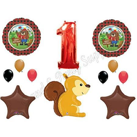 LUMBERJACK 1st Birthday Party Balloons Decoration Supplies Wild One Squirrel Plaid (Lumberjack Birthday Party)
