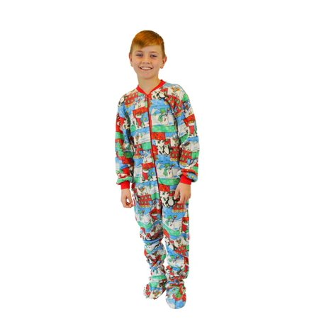 Kids Fleece Christmas Footed Pajamas Onesie - Walmart.com