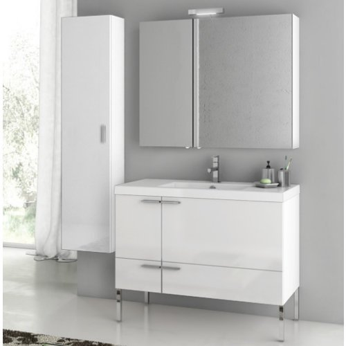 ACF by Nameeks ACF ANS28-GW New Space 39-in. Single Bathroom Vanity Set - Glossy White