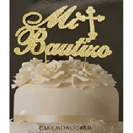 Mi Bautizo Gold Rhinestone Cake Topper Keepsake Decoration Gift