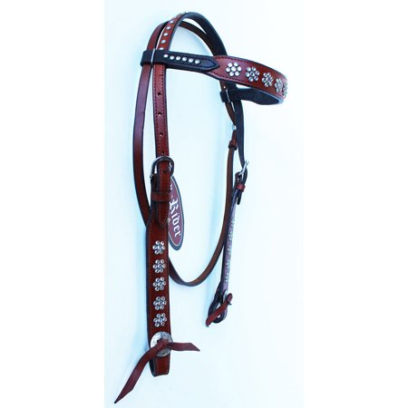 Horse Show Tack Bridle Western Leather Rodeo Headstall Brown White Crystal 8504H