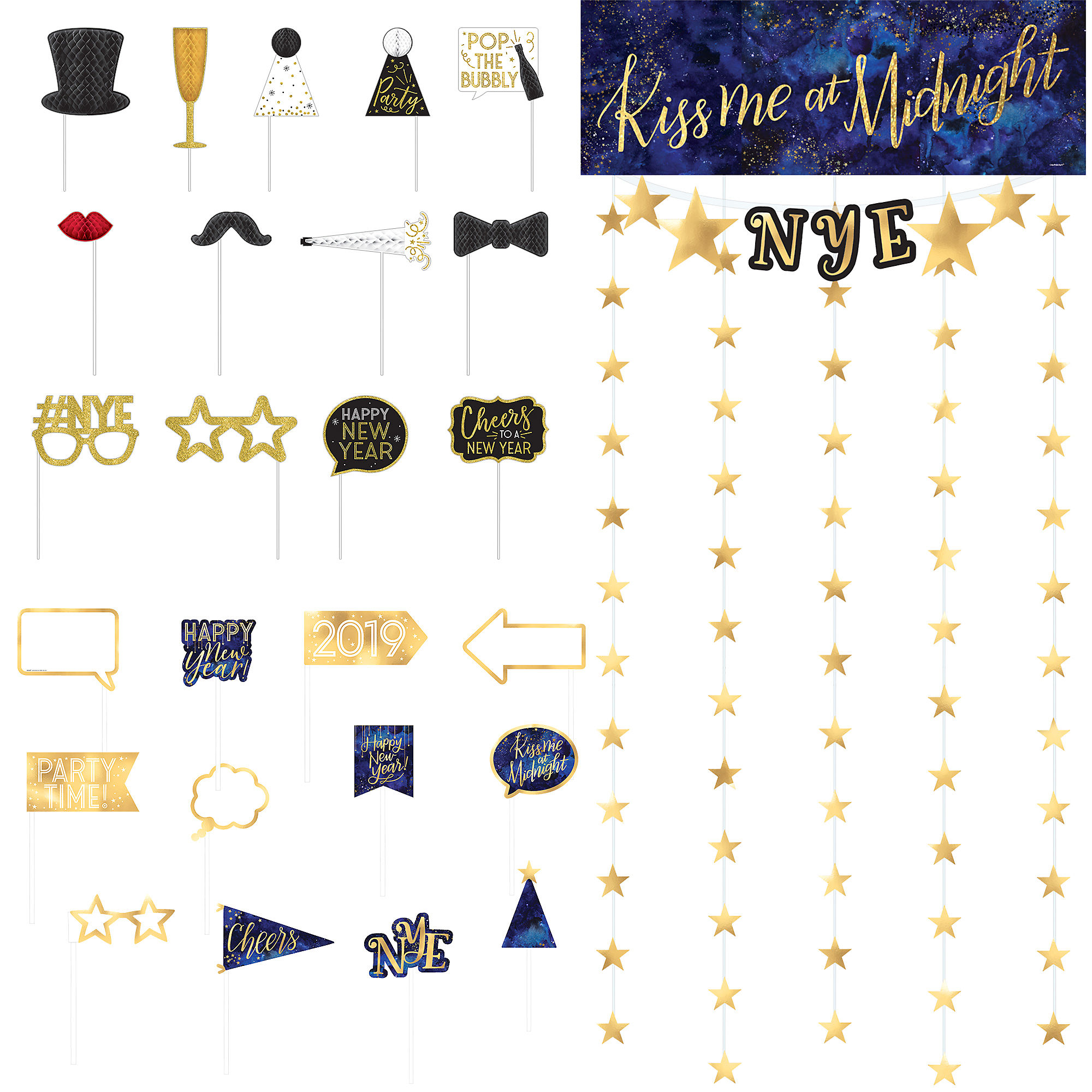 Party City New Years Eve Photobooth Backdrop and Prop Kit ...