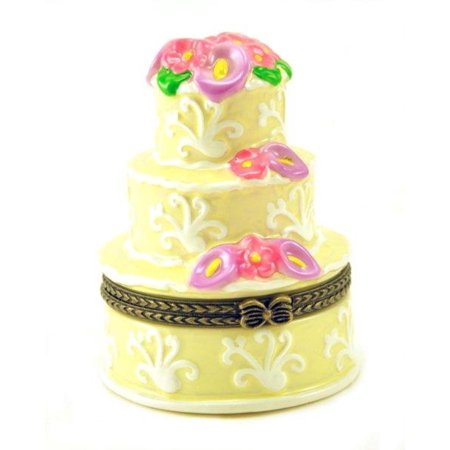 Bakers Dream Elegant Three Layer Wedding Cake Hinged Porcelain Trinket (Porcelain Wedding Elegant Gift Box)