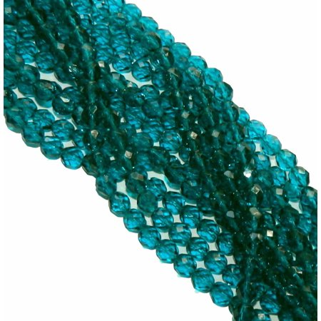 24 Firepolish Faceted Czech Glass, Loose Beads, 8mm Teal