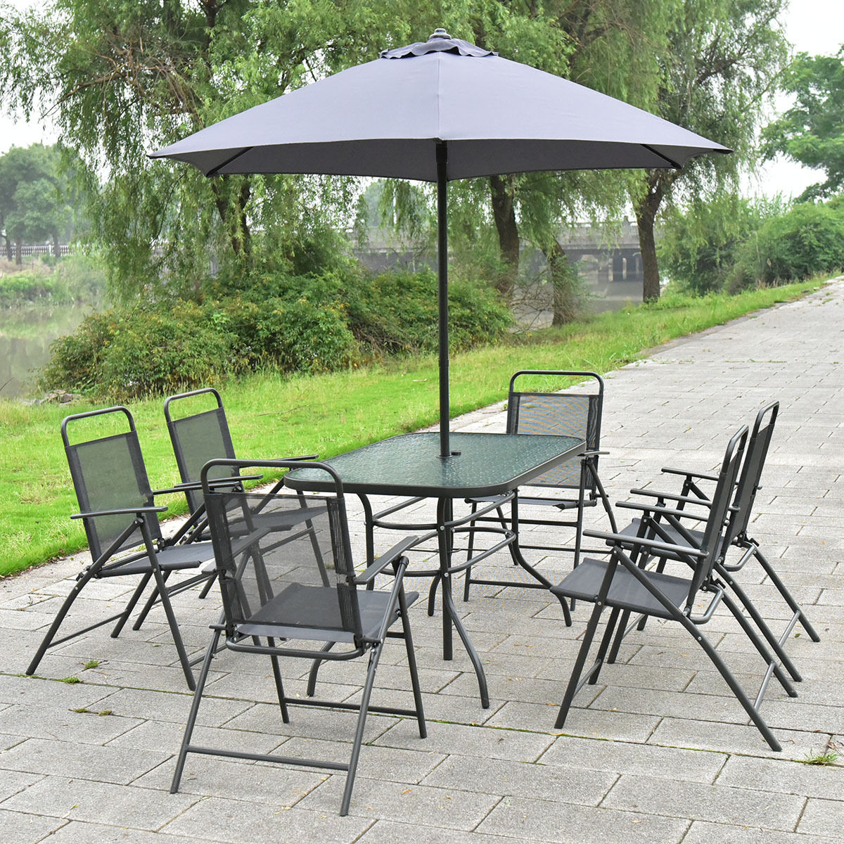Costway 8PCS Patio Garden Set Furniture 6 Folding Chairs Table with Umbrella Gray