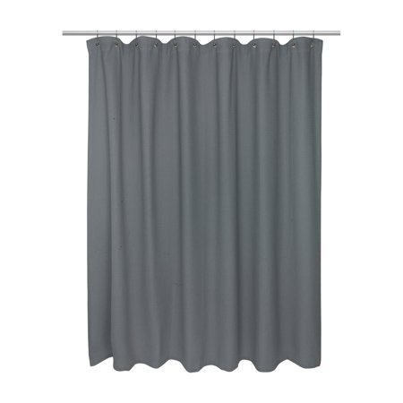 Extra Long Size 100% Cotton Waffle Weave Shower Curtain, pewter.