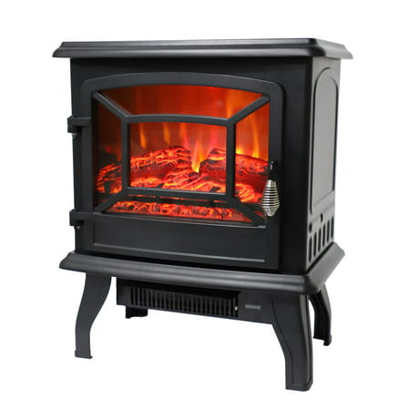 Ktaxon 1400W Small Electric Fireplace, Indoor Free Standing Stove Heater Fire Flame Stove Adjustable