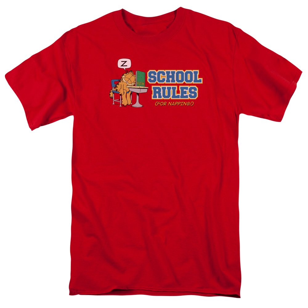 Garfield/School Rules S/S Adult 18/1   Red     Gar242