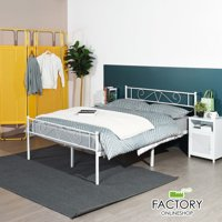 Geniqua Full Size Bed Frame White Steel Platform Classic Headboard Footboard Foundation Tool Free Assembly No Box Spring Needed