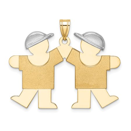 Rhodium Boy Charm - 14k Rhodium plated Yellow Gold Two-tone Large Double Boys Engravable Pendant For Necklace