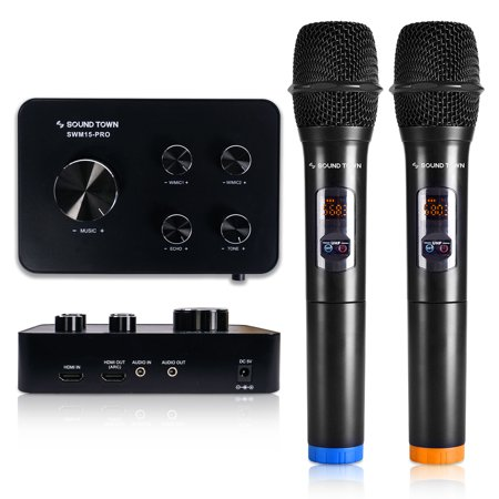 Sound Town 16 Channels Wireless Karaoke Mixer System with Bluetooth, HDMI ARC, AUX, Supports Smart TV with HDMI Output (ARC), Media Box, PC, Home Theater (SWM15-PRO) - Upgrade Version ()