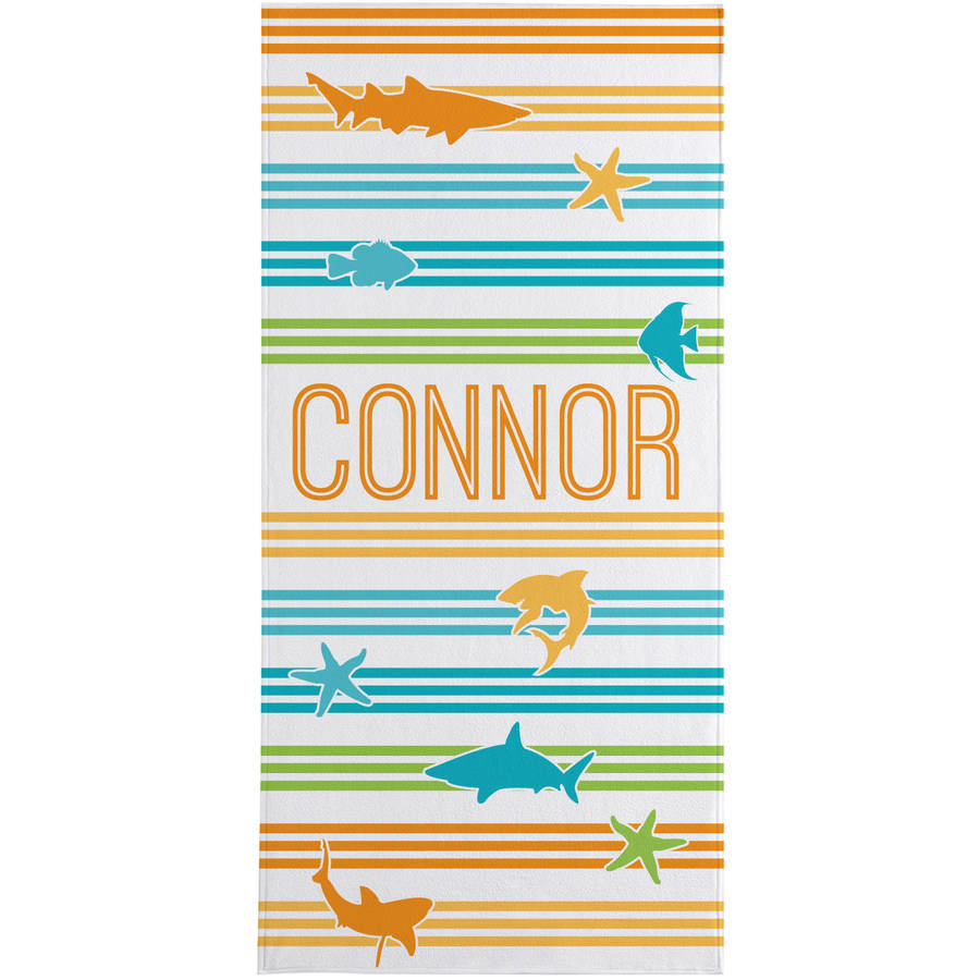 Personalized Swimming with Stripes Beach Towel, Available in Shark or Dolphin