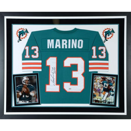 Dan Marino Miami Dolphins Deluxe Framed Autographed Mitchell & Ness Teal Replica Jersey with